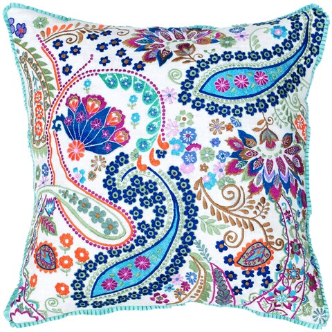 Rizzy Home Multicolored Cotton 18-inch Square Paisley/Floral Embroidered Decorative Throw Pillow