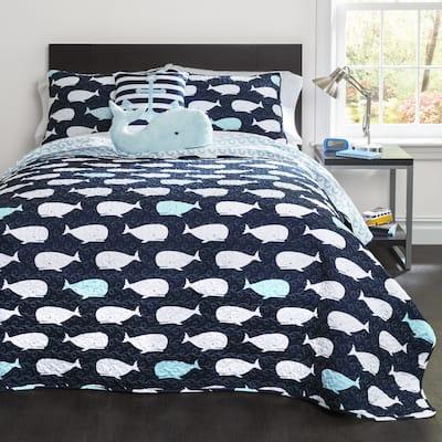 Taylor & Olive Lums Whale Print 5-piece Quilt Set