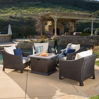 Antibes Outdoor 4-piece Wicker Club Chair Set with 32-inch Square Liquid Propane by Christopher Knight Home