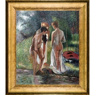 Camille Pissarro 'Nude in the Forest' Hand Painted Framed Canvas Art