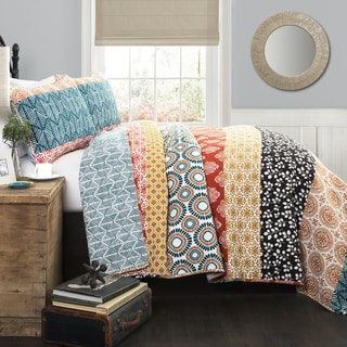 Lush Decor Bohemian Stripe Turquoise/Orange 3-piece Quilt Set
