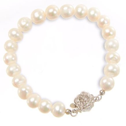 Filii Children's Cultured Freshwater Pearl Flower Clasp Bracelet