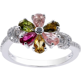 White/Pink Sterling Silver Multicolor Tourmaline Flower Ring