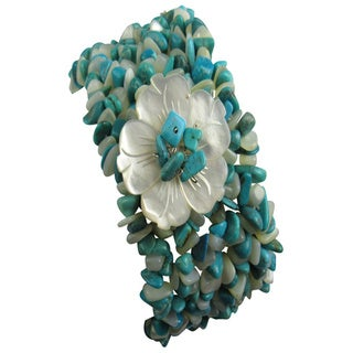 Pearl Lustre Turquoise Peral and Stone Bracelet