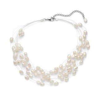 Pearl Lustre Floating Freshwater Pearl 17-inch with Three-inch Extension Multistrand Floating Necklace - White