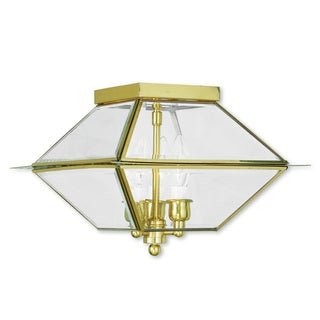 Livex Lighting Westover Polished Brass 3-light Outdoor/Indoor Ceiling Mount Fixture