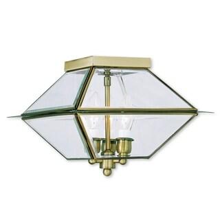 Livex Lighting Westover Antique Brass 3-light Outdoor/Indoor Ceiling-mount Fixture