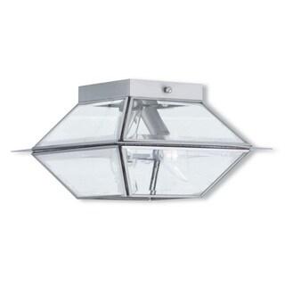 Livex Lighting Westover Brushed Nickel 2-light Outdoor/Indoor Ceiling Mount Fixture