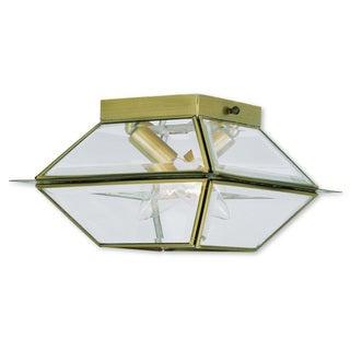 Livex Lighting Westover Antique Brass 2-light Outdoor/Indoor Ceiling Mount Fixture