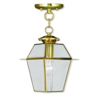 Livex Lighting Westover Polished Brass Single Light Outdoor Chain Lantern