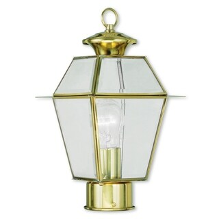 Livex Lighting Westover Gold Brass and Glass 1-light Outdoor Post Lantern