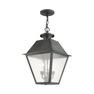 Livex Lighting Mansfield Charcoal Brass 3-light Outdoor Chain Lantern