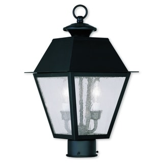 Livex Lighting Mansfield Black Brass 2-light Outdoor Post Lantern