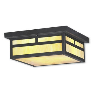 Livex Lighting Montclair Mission Brown Bronze Finished Brass 3-light Outdoor Ceiling Mount