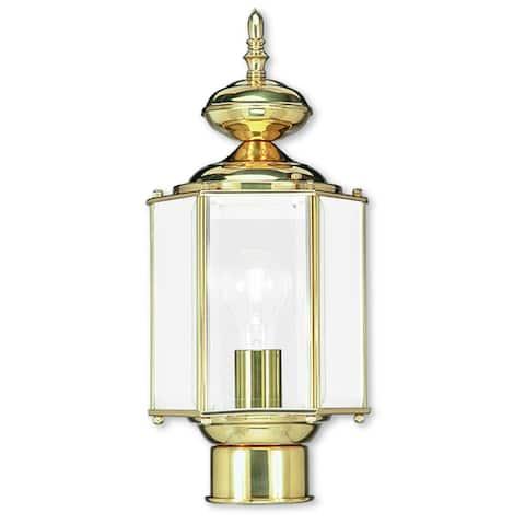Livex Lighting Outdoor Basics Polished Brass Outdoor Post Lantern