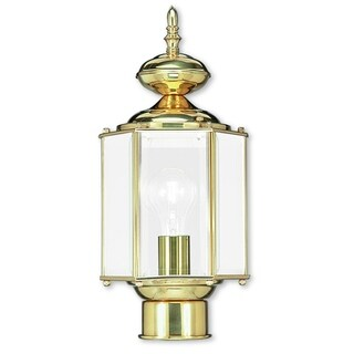 Livex Lighting Outdoor Basics Polished Brass Outdoor Post Lantern