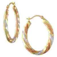 14k Tri-Color Gold Oval Hoop Earrings