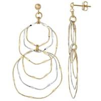 14k Two-tone Gold Wavy Dangle Earrings