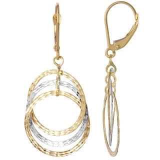Gold 14k Triple Circle Dangle Earrings