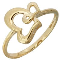 14k Yellow Gold Double-heart Ladies Ring