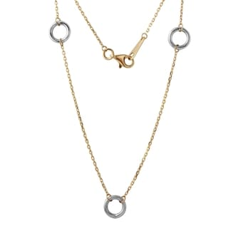 14k Yellow and White Gold Triple Circle Pendant Necklace