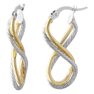 14k Italian Two-tone Gold Diamond Cut Twisted Infinity Earrings