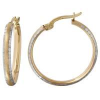 14k Two-tone Gold Hammered Hoop Earrings