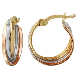 14k Tri Color Gold Overlap Hoop Earrings