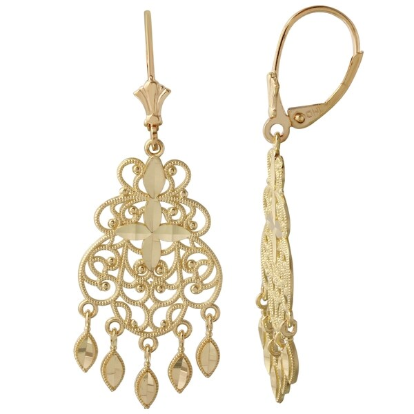 overstock earrings shop 14k yellow gold chandelier earrings free shipping 550