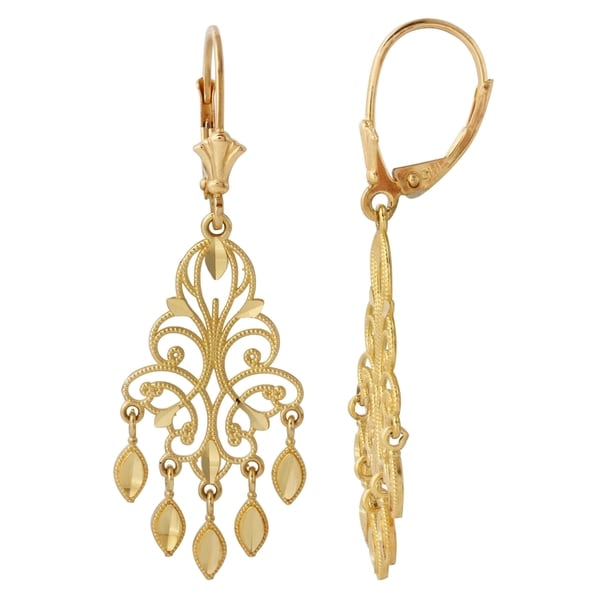 overstock earrings shop 14k yellow gold 1 5 inch chandelier earrings free 2677