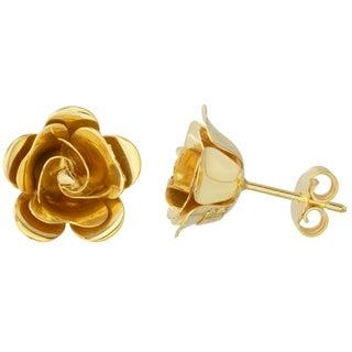 14k Yellow Gold Italian 3D Flower Stud Earrings