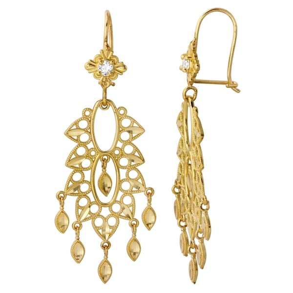 14 Karat Yellow Gold Chandelier Earrings
