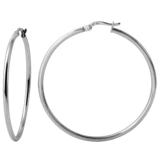 18k White Gold 2mm 1.75-inch Click-top Round Hoop Earrings