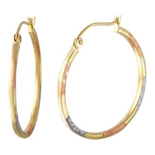 14k Tri-color Gold Round Hoop Earrings