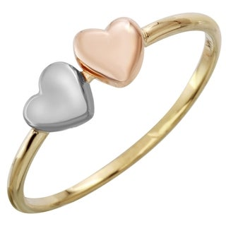 Ladie's 14k Tri-color Gold Double Heart Ring (Size 7)