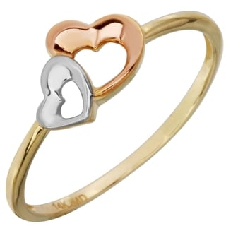 Women's 14k Tri-color Gold Double Heart Ring