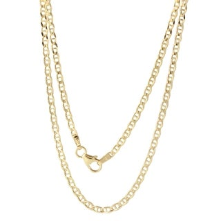 18k Yellow Gold 2.4mm Di-cut Concave Mariner Chain Necklace