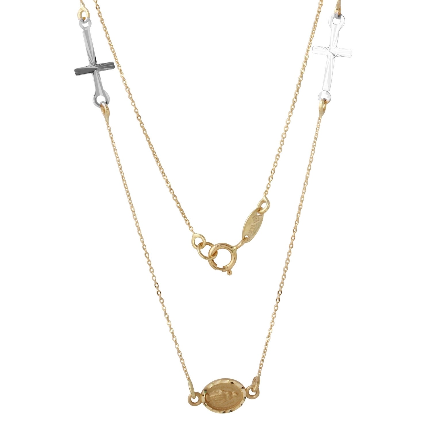 14k Yellow Gold Miraculous Medal and Cross Necklace (Yell...