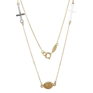 14k Yellow Gold Miraculous Medal and Cross Necklace
