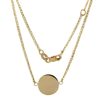 14k Yellow Gold Italian Medium Round Disc Engravable 16-inch to 17-inch Adjustable Necklace