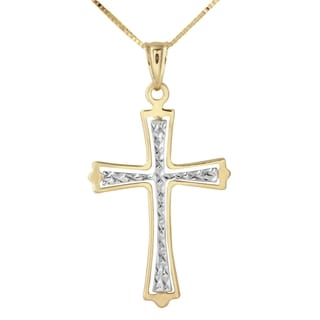 14k Two-tone Gold Diamond-cut Cross Necklace