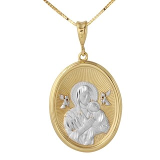 14k Two-tone Gold Mama Mary and Baby Jesus Oval Medal Necklace