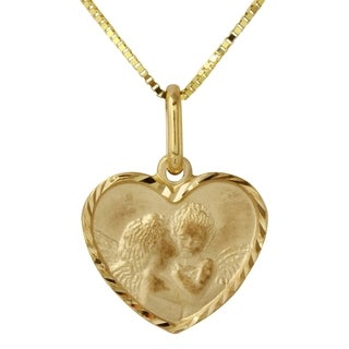 14k Yellow Gold Mother and Child Heart Pendant Necklace