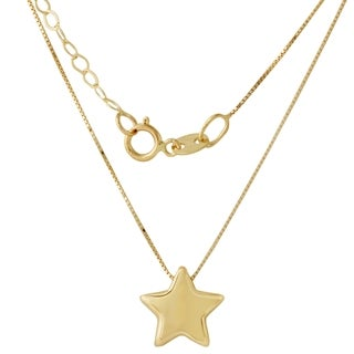 14k Italian Yellow Gold Box Chain Star Adjustable Pendant Necklace