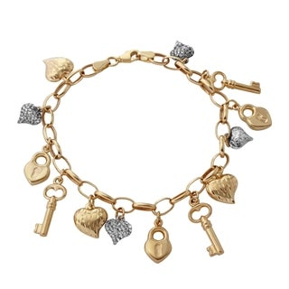 14k Yellow/White Gold 7.25-inch Heart Lock and Key Link Charm Bracelet
