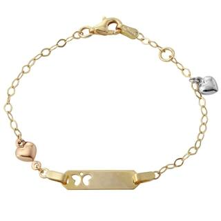 14k Tri-color Gold Heart Charm Butterfly Baby ID 6-inch Rolo Bracelet|https://ak1.ostkcdn.com/images/products/11977765/P18859729.jpg?impolicy=medium
