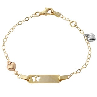 14k Tri-color Gold Heart Charm Butterfly Baby ID 6-inch Rolo Bracelet
