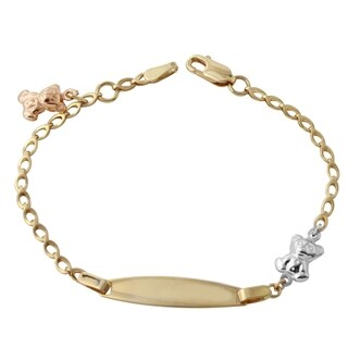 14k Gold Teddy Bear Baby ID Bracelet