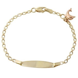 14k Yellow and Rose Gold 6-inch Dolphin Baby ID Bracelet