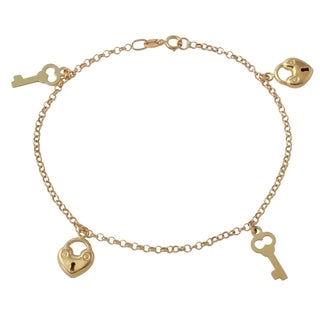 14k Italian Yellow Gold 7.25-inch Heart Key Charm Bracelet